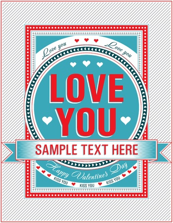 Vintage Valentine card. Vector illustration. Illustration