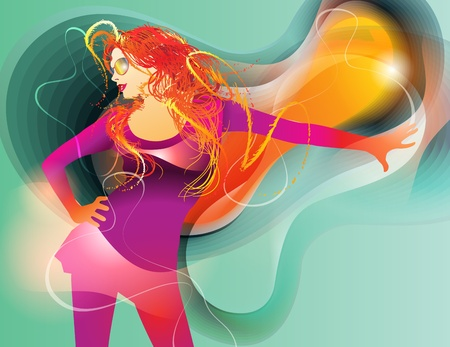 The colorful dancing girl on abstract background. Vector illustration. Vector