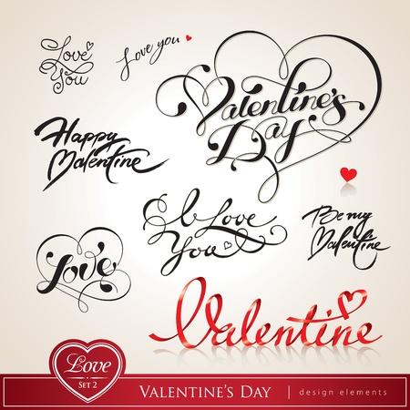 declaracion de amor: D�a de San Valent�n. Juego de titulares caligr�ficos de San Valent�n con corazones. Ilustraci�n del vector.