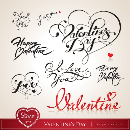 love declaration: Valentines Day. Set of Valentines calligraphic headlines with hearts. Vector illustration.