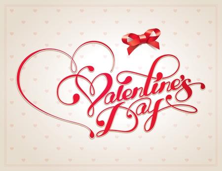 バレンタイン カード、ベージュの背景に書道のレタリングと。ベクトル イラスト。  イラスト・ベクター素材
