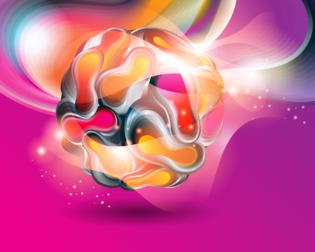 Colorful abstract background with transforming shining forms. Vector illustration.