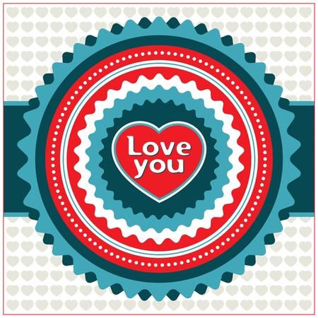 Vintage Valentine card. Vector illustration. Stock Vector - 12377689
