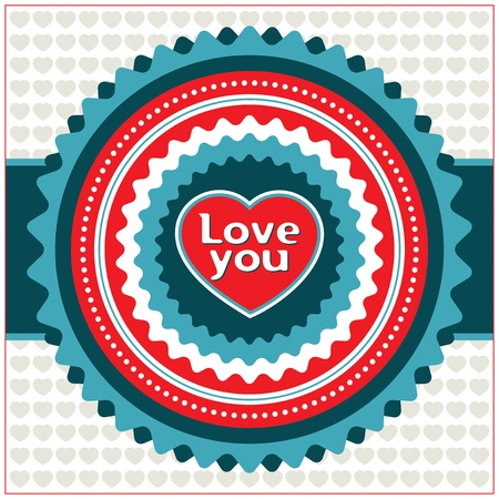 Vintage Valentine card. Vector illustration. Stock Vector - 12377689