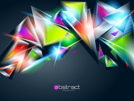 refraction of light: Abstract background from colorful glowing triangles. Vector illustration.