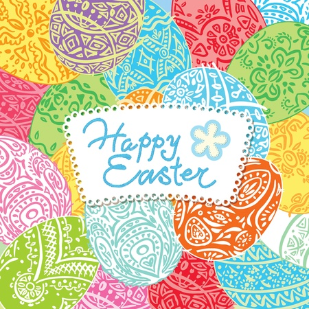 inscription: Easter background with lacy eggs and inscription. Vector illustration. Illustration