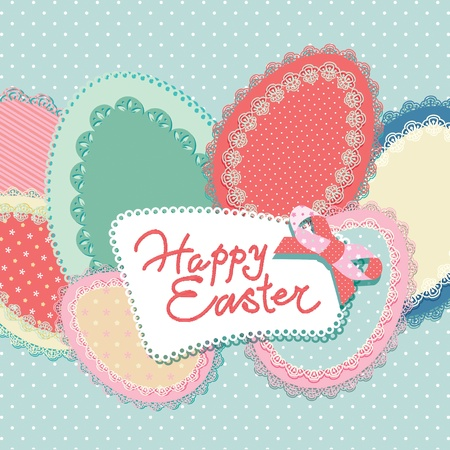 Vintage Easter card with lacy paper eggs and inscription. Vector illustration. Çizim