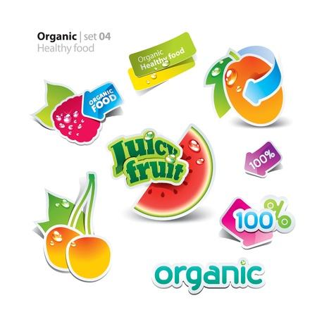 Jeu d'autocollants et des icônes de la nourriture saine et biologique. Vector illustration.