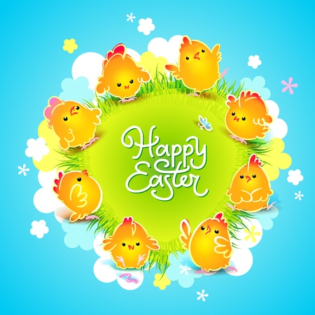 Easter card with the cute chickens around the meadow with flowers  Vector illustration