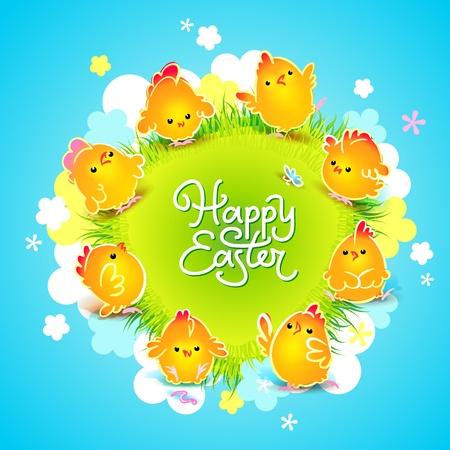 pasqua cristiana: Scheda di Pasqua con i polli simpatici di tutto il prato con fiori illustrazione vettoriale