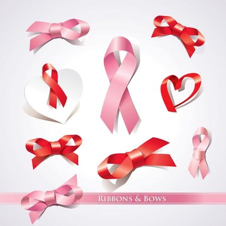cancer de mama: Conjunto de cintas y lazos en una ilustración de fondo vector Vectores