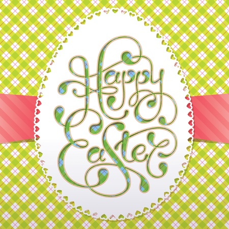 Vintage Easter card with calligraphic inscription and lacy paper eggs. Vector illustration. Vector