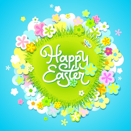 Easter card with calligraphic inscription and flowers around the meadow. Vector illustration. Vector