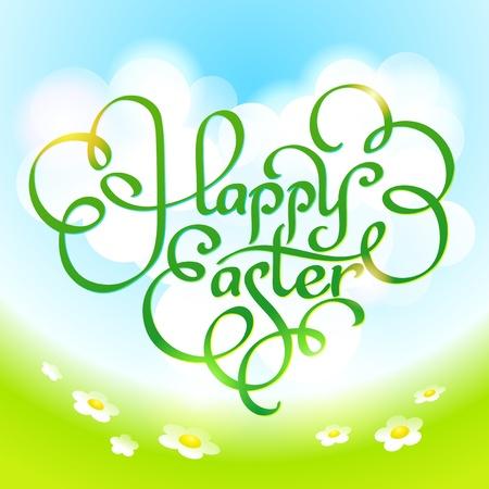 pasqua cristiana: Scheda di Pasqua con iscrizione calligrafica, nuvole e fiori sul prato. Illustrazione vettoriale.