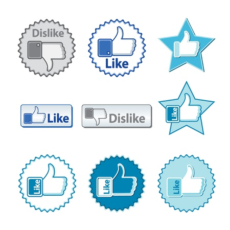Set of thumb up and thumb down hand with word like or dislike on the buttons. Stock Vector - 13078170