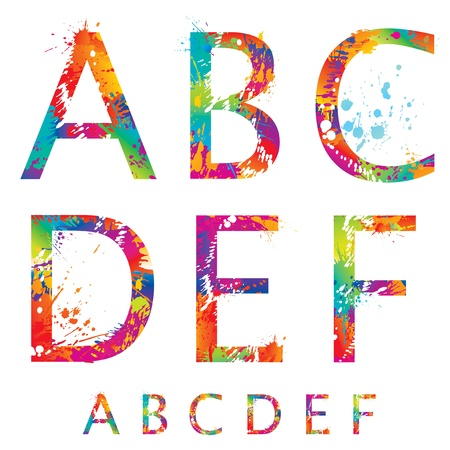 Font - Colorful letters with drops and splashes from A to F  Vector illustration  Illustration