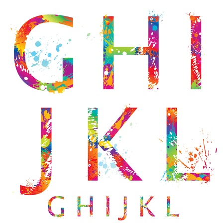 Font - Colorful letters with drops and splashes from G to L  Vector illustration