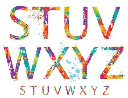 フォント - とカラフルな文字ドロップはねかけると S から Z のベクトル図を。  イラスト・ベクター素材