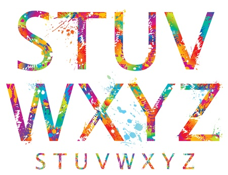 Font - Colorful letters with drops and splashes from S to Z. Vector illustration. Vector