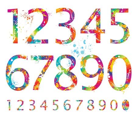num�rico: Font - n�meros coloridos con gotas y salpicaduras de 0 a 9. Vector ilustraci�n.