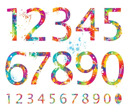 Font - Colorful numbers with drops and splashes from 0 to 9. Vector illustration. Çizim
