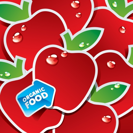 Background from red apples with the arrow by organic food   Çizim