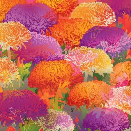 Chrysanthemums  Autumn colorful background  Çizim