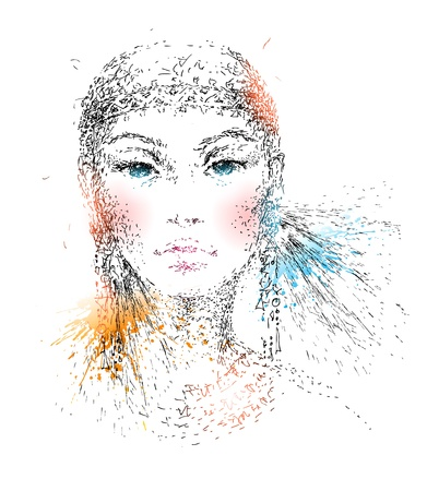 La hermosa joven mano del retrato hecho por una pluma con manchas de color y los aerosoles