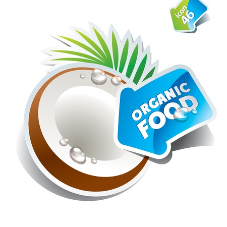 Icon coconut with arrow by organic food on a white background