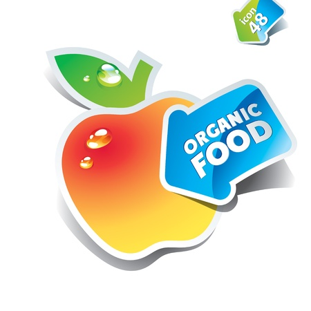 Icon yellow apple with the arrow by organic food