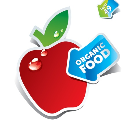 Icon red apple with the arrow by organic food