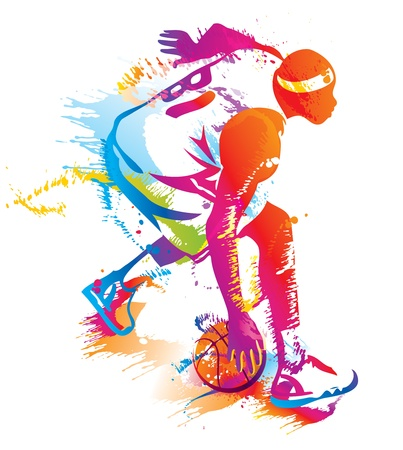 hand baskets: Basketball player Illustration
