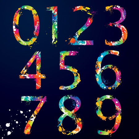 Font - Colorful numbers with drops and splashes from 0 to 9  illustration  Illustration