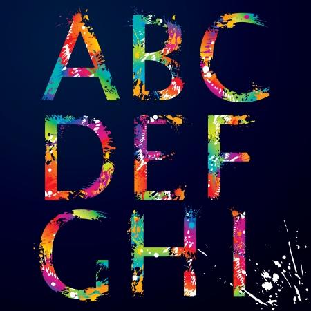 letras negras: Font - Colorful letras con gotas y salpicaduras de la A a la I ilustraci�n