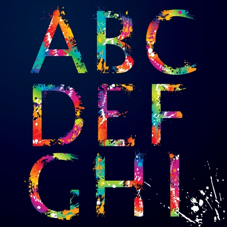 colorful paint: Font - Colorful letters with drops and splashes from A to I  illustration