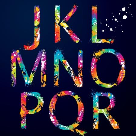 tipos de letras: Font - Colorful letras con gotas y salpicaduras de J a R ilustraci�n Vectores