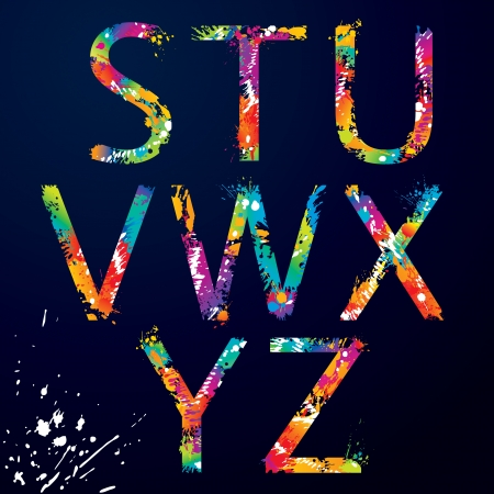 rainbow print: Font - Colorful letters with drops and splashes from S to Z  illustration