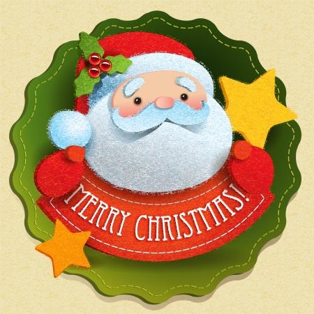 図のレタリング メリー クリスマスとサンタ クロースのクリスマス カード