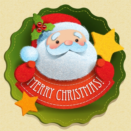 Christmas card with Santa Claus and Merry Christmas lettering  illustration  Çizim
