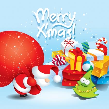 サンタと多くのカラフルなパッケージ イラストのプレゼントのクリスマス カード