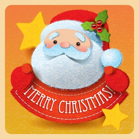 Christmas card with Santa Claus and Merry Christmas lettering.