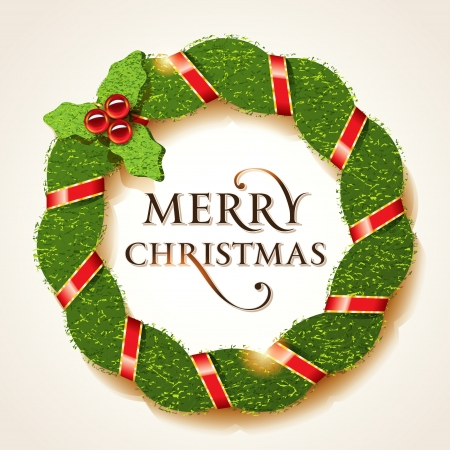 Christmas holly wreath with Merry Christmas inscription on a beige background. Vector