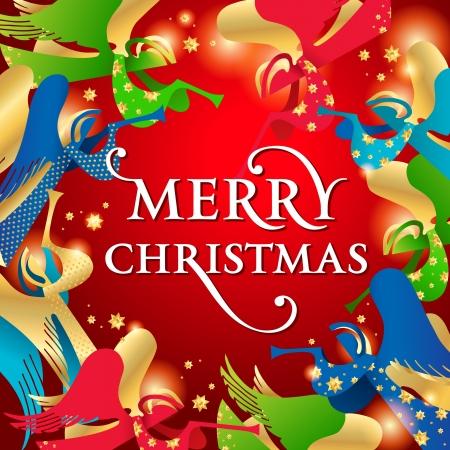 赤い背景の上の天使のクリスマス カード。イラスト。  イラスト・ベクター素材