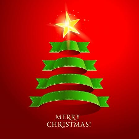 赤い背景の上のクリスマス ツリー。イラスト。