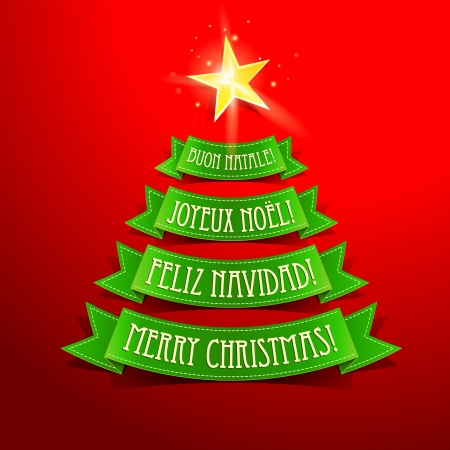Christmas tree with greetings in different languages on a red background.  illustration. Vector