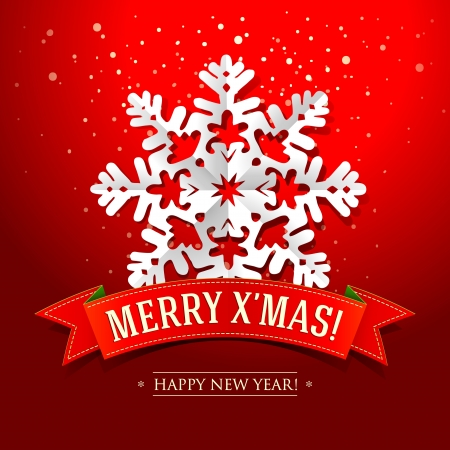 Christmas card with paper snowflake and inscription on a red ribbon.