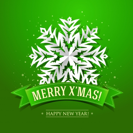 Christmas card with paper snowflake and inscription on a green ribbon.  Vector