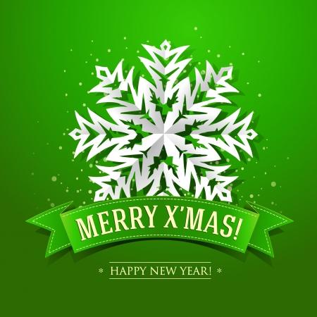 Kerstkaart met papier sneeuwvlok en inscriptie op een groen lint.