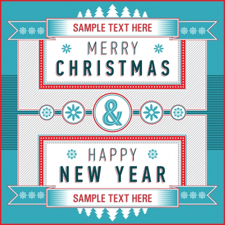 inscription: Vintage Christmas   New Year card with inscription on a striped background  Vector illustration