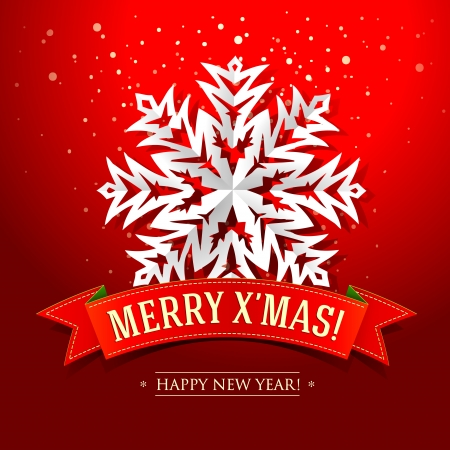 inscription: Christmas card with paper snowflake and inscription on a red ribbon  Vector illustration